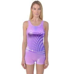 Purple Circle Line Light One Piece Boyleg Swimsuit
