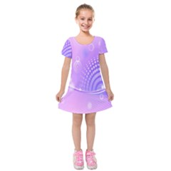 Purple Circle Line Light Kids  Short Sleeve Velvet Dress