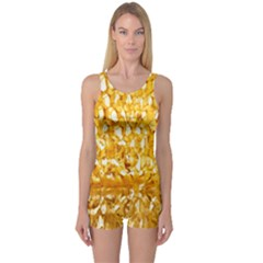 Honeycomb Fine Honey Yellow Sweet One Piece Boyleg Swimsuit by Alisyart