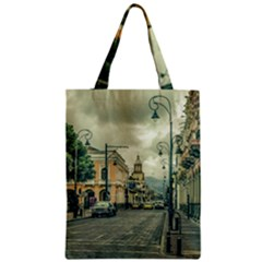 Historic Center Urban Scene At Riobamba City, Ecuador Zipper Classic Tote Bag by dflcprints