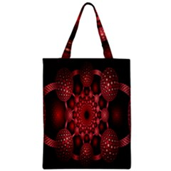 Lines Circles Red Shadow Zipper Classic Tote Bag by Alisyart
