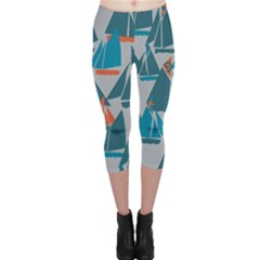 Ship Sea Blue Capri Leggings