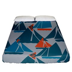 Ship Sea Blue Fitted Sheet (queen Size)