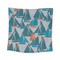 Ship Sea Blue Square Tapestry (small) by Alisyart