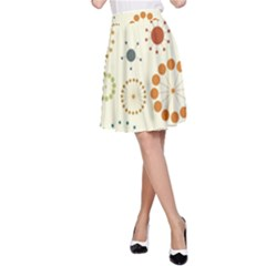 Seamless Floral Flower Orange Red Green Blue Circle A Line Skirt