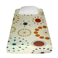 Seamless Floral Flower Orange Red Green Blue Circle Fitted Sheet (single Size)