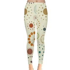 Seamless Floral Flower Orange Red Green Blue Circle Classic Winter Leggings