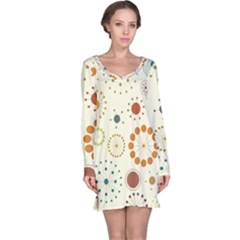 Seamless Floral Flower Orange Red Green Blue Circle Long Sleeve Nightdress