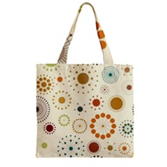 Seamless Floral Flower Orange Red Green Blue Circle Zipper Grocery Tote Bag by Alisyart