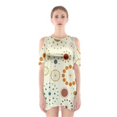Seamless Floral Flower Orange Red Green Blue Circle Shoulder Cutout One Piece