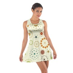Seamless Floral Flower Orange Red Green Blue Circle Cotton Racerback Dress