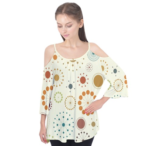 Seamless Floral Flower Orange Red Green Blue Circle Flutter Tees by Alisyart