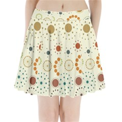 Seamless Floral Flower Orange Red Green Blue Circle Pleated Mini Skirt