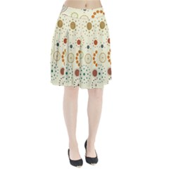 Seamless Floral Flower Orange Red Green Blue Circle Pleated Skirt