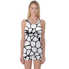 Seamless Cobblestone Texture Specular Opengameart Black White One Piece Boyleg Swimsuit