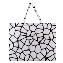Seamless Cobblestone Texture Specular Opengameart Black White Zipper Large Tote Bag by Alisyart