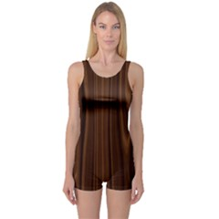 Texture Seamless Wood Brown One Piece Boyleg Swimsuit