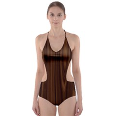 Texture Seamless Wood Brown Cut Out One Piece Swimsuit