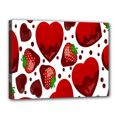 Strawberry Hearts Cocolate Love Valentine Pink Fruit Red Canvas 16  X 12  by Alisyart