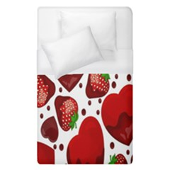 Strawberry Hearts Cocolate Love Valentine Pink Fruit Red Duvet Cover (single Size) by Alisyart