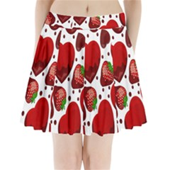 Strawberry Hearts Cocolate Love Valentine Pink Fruit Red Pleated Mini Skirt