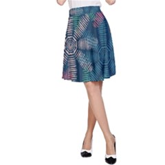 Spring Flower Red Grey Green Blue A Line Skirt