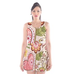 Seamless Texture Flowers Floral Rose Sunflower Leaf Animals Bird Pink Heart Valentine Love Scoop Neck Skater Dress