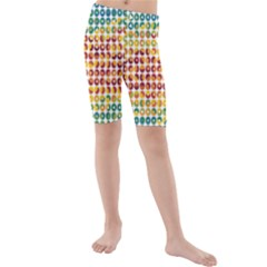 Weather Blue Orange Green Yellow Circle Triangle Kids  Mid Length Swim Shorts