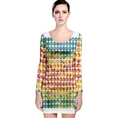 Weather Blue Orange Green Yellow Circle Triangle Long Sleeve Bodycon Dress