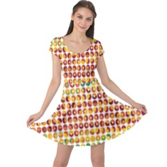 Weather Blue Orange Green Yellow Circle Triangle Cap Sleeve Dresses