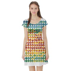 Weather Blue Orange Green Yellow Circle Triangle Short Sleeve Skater Dress