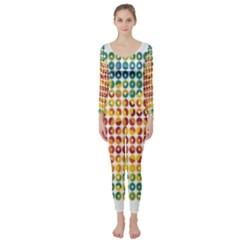 Weather Blue Orange Green Yellow Circle Triangle Long Sleeve Catsuit