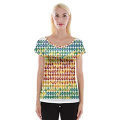 Weather Blue Orange Green Yellow Circle Triangle Women s Cap Sleeve Top