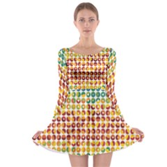 Weather Blue Orange Green Yellow Circle Triangle Long Sleeve Skater Dress