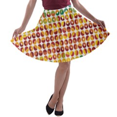 Weather Blue Orange Green Yellow Circle Triangle A-line Skater Skirt