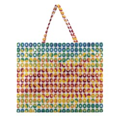 Weather Blue Orange Green Yellow Circle Triangle Zipper Large Tote Bag