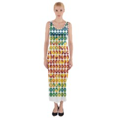 Weather Blue Orange Green Yellow Circle Triangle Fitted Maxi Dress