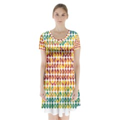 Weather Blue Orange Green Yellow Circle Triangle Short Sleeve V Neck Flare Dress by Alisyart