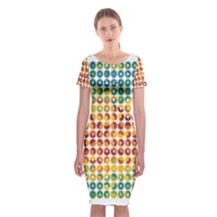 Weather Blue Orange Green Yellow Circle Triangle Classic Short Sleeve Midi Dress by Alisyart