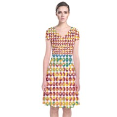 Weather Blue Orange Green Yellow Circle Triangle Short Sleeve Front Wrap Dress