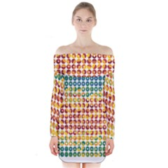 Weather Blue Orange Green Yellow Circle Triangle Long Sleeve Off Shoulder Dress