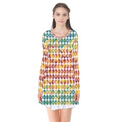 Weather Blue Orange Green Yellow Circle Triangle Flare Dress
