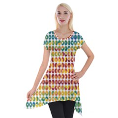 Weather Blue Orange Green Yellow Circle Triangle Short Sleeve Side Drop Tunic