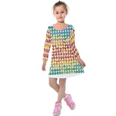 Weather Blue Orange Green Yellow Circle Triangle Kids  Long Sleeve Velvet Dress