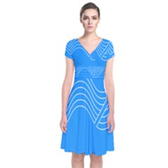 Waves Blue Sea Water Short Sleeve Front Wrap Dress