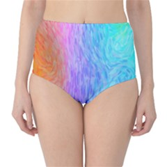 Abstract Color Pattern Textures Colouring High Waist Bikini Bottoms