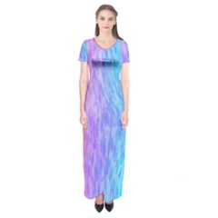 Abstract Color Pattern Textures Colouring Short Sleeve Maxi Dress by Simbadda