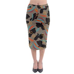 African Women Ethnic Pattern Midi Pencil Skirt