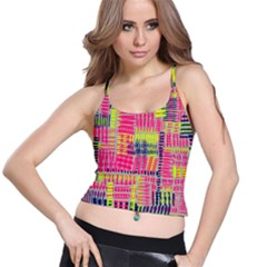 Abstract Pattern Spaghetti Strap Bra Top