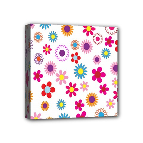 Colorful Floral Flowers Pattern Mini Canvas 4  X 4